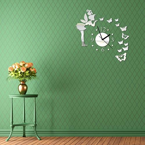 Đồng hồ dán tường trang trí phòng ngủ hình nàng tiên và bươm bướm bằng chất liệu Acrylic tráng gương