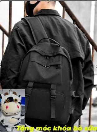 [Mua 1 tặng 1] [Ảnh thật] Ba lô đen trơn chống nước phù hợp cho nam và nữ đựng vừa laptop 15 inch (tặng kèm phụ kiện)