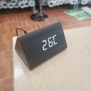 (Tặng cáp sạc )Đồng hồ LED giả gỗ để bàn CAO CẤP - Cảm ứng âm thanh, nhiệt kế, báo thức - Homedecor HCM