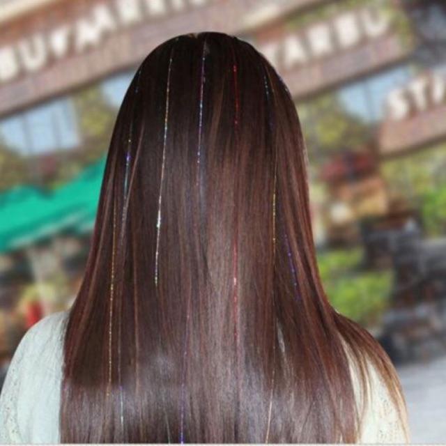 Light tóc ánh kim nhiều màu - 1 bịch gồm 100 sợi light