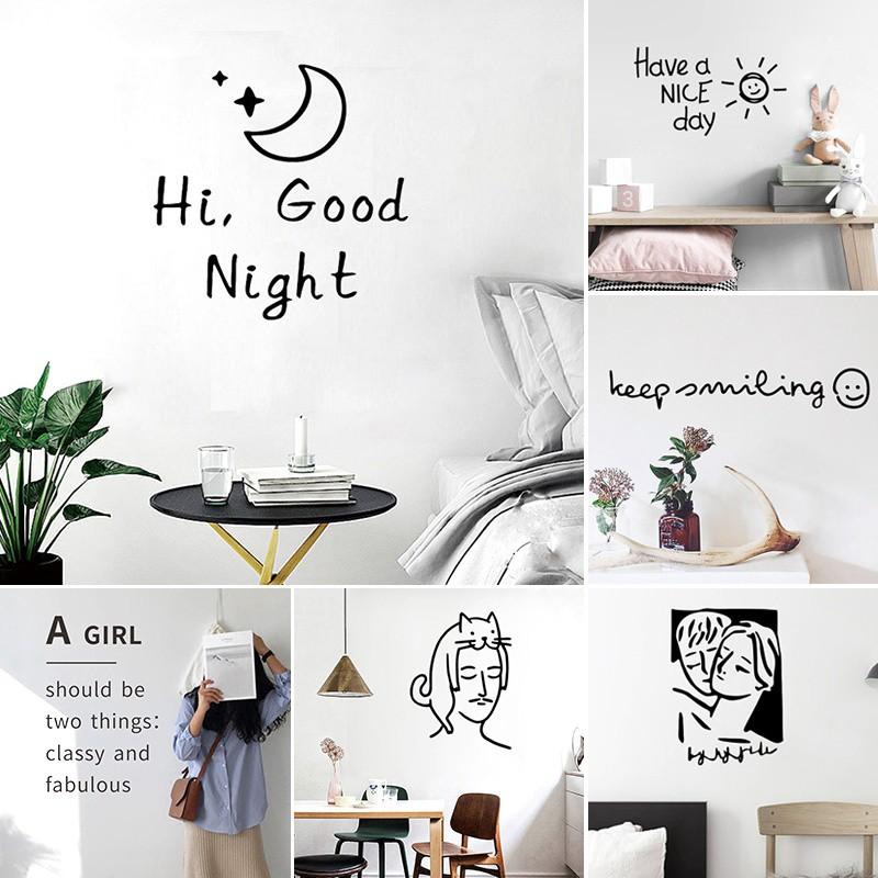 Miếng dán tường dễ thương trang trí phòng ký túc xá / phòng ngủ bằng PVC