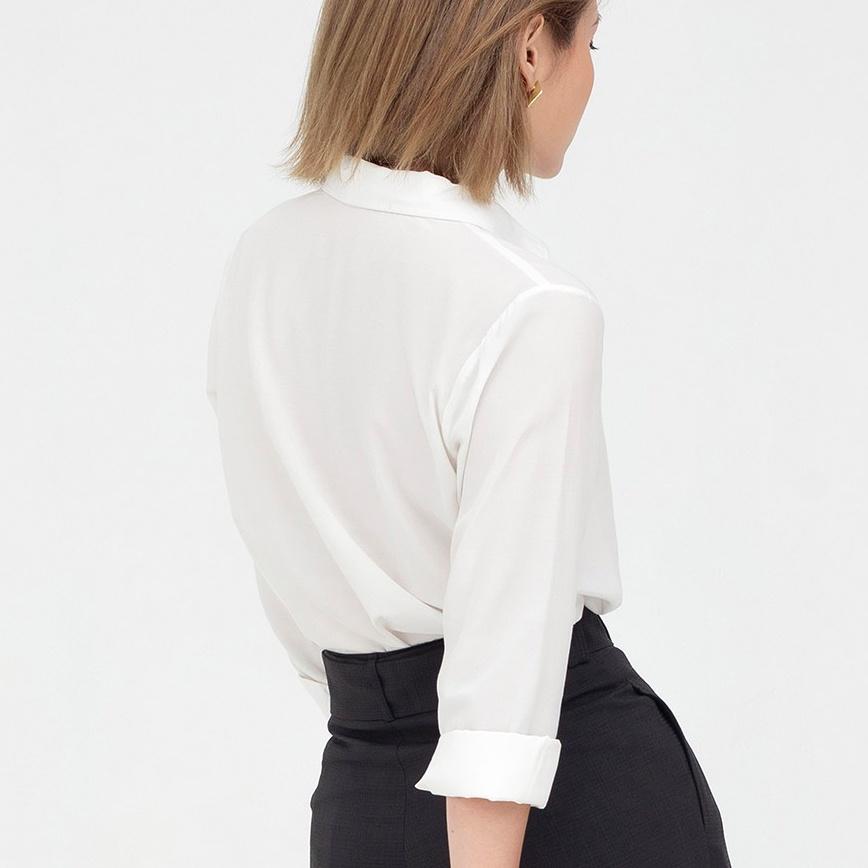 Mặc gì đẹp: Lịch sự với Áo sơ mi trắng nữ công sở dài tay cơ bản vải Lụa Xước Hàn Quốc Cao Cấp MADELA, Sơ mi trắng công sở nữ dài tay - ASM07