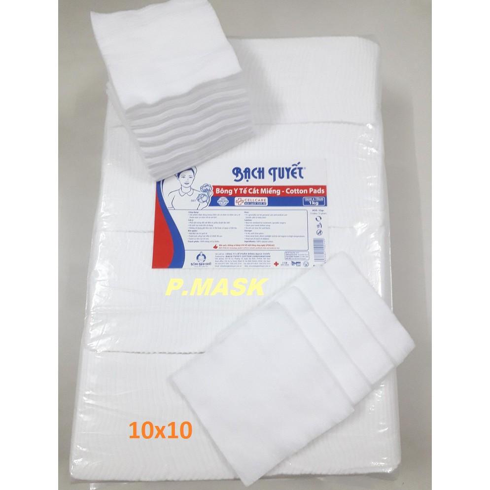 Bông Y tế cắt miếng 1kg kích thước 10x10 - Hàng Chính Hãng Bông Bạch Tuyết