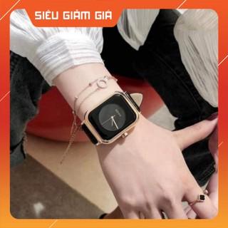 { SIÊU PHẢM} Đồng hồ nữ dây da mặt vuông G.u.o.u siêu xinh , da mềm bền