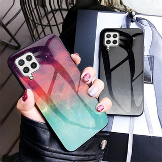 Luxury Starry Sky Glass Phone Case For Samsung Galaxy A22 A32 A52 A72 5G Shockproof Hard Cover Couples Case
