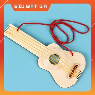 Bô Đô Chơi Khoa Ho c Tư La m Đa n Guitar Mini Bă ng Gô - DIY Wood Steam thumbnail