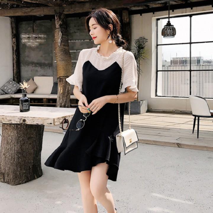 Đầm Nữ Suông Đuôi Cá Phối Tay Ngắn Voan Thời Trang Đủ Size Từ 40 Đến 68Kg - DAMNU19.0006BLA