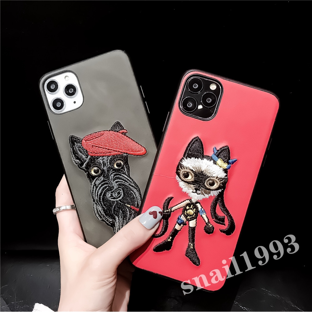 Samsung S10 S9 S8 Plus S7 Edge S7 Note8 Note9 Note10 Note10 Plus Cute Embroidery Cat Soft Phone Case