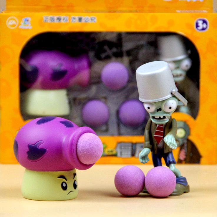 Plant vs Zombie Toy Big Shot Mushroom Launches Soft Bullets Iron Barrel Zombie Doll vs Desktop Game Educational Toy