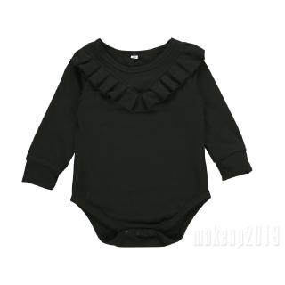 Mu♫-Baby Girl Romper Outfit Cute Long Sleeve Ruffles Bodysuit Fall Winter Jumpsuit One-Piece Clothes