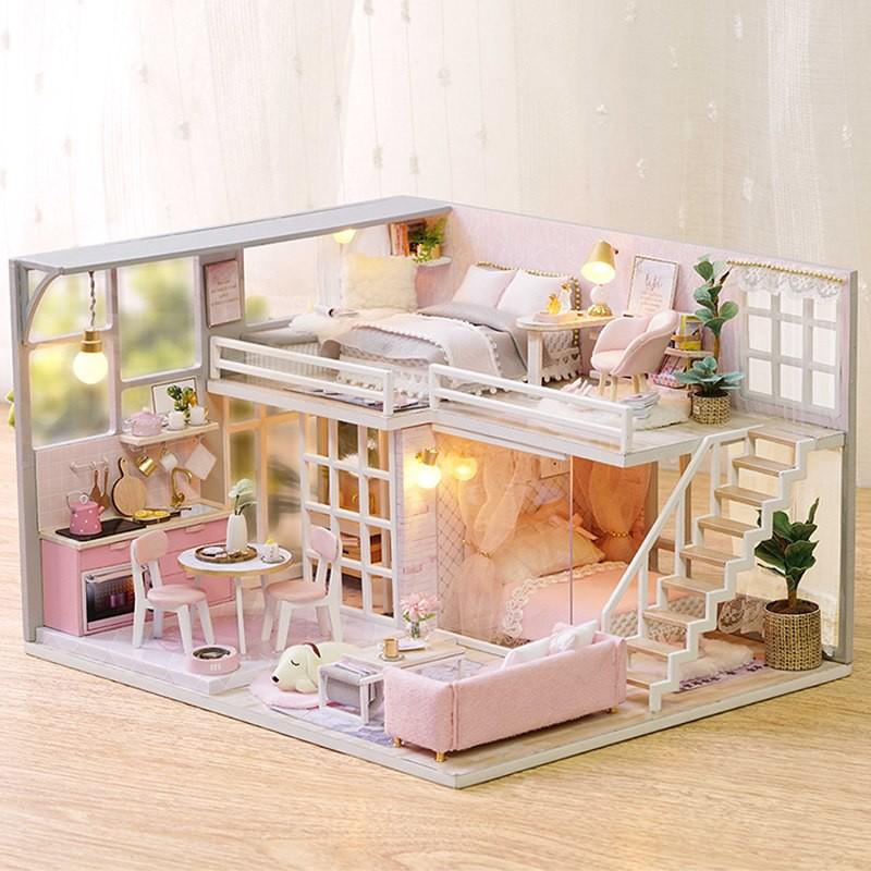Nhà Búp Bê DIY - Biệt Thự Giấc Mơ Của Thiếu Nữ ( tặng mica, keo dán)