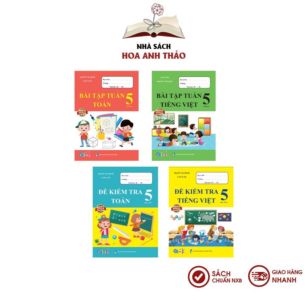 Sách - Bài tập tuần và đề kiểm tra Toán và Tiếng Việt lớp 5 học kỳ 2 Bộ 4 quyển - Combo 4 quyển