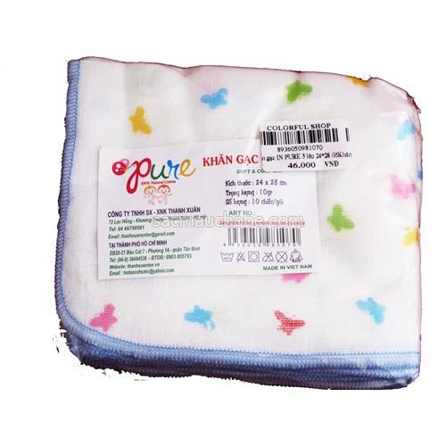 khăn gạc in cao cấp Pure 2,3 lớp ( gói 10 chiếc)