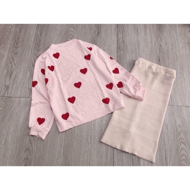 Set váy len tim đỏ