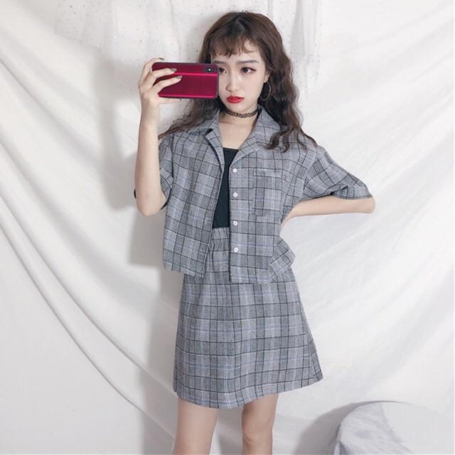 Bộ quần áo nữ kiểu Hàn Quốc QA13 Áo khoác + chân váy