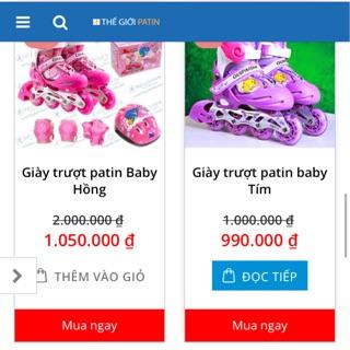 Giày patin baby Tím + Hồng
