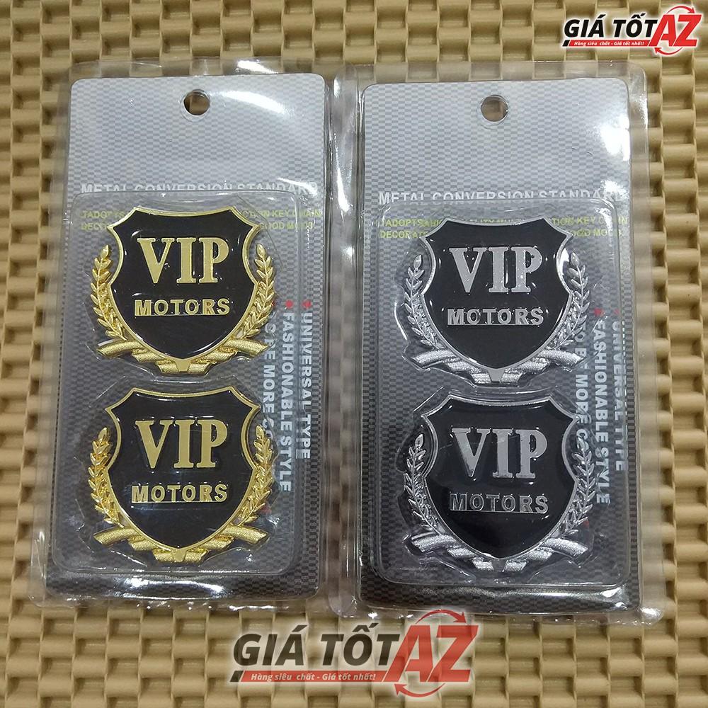 Bộ 2 huy hiệu logo VIP nổi 3D gắn xe ô tô loại cao cấp - Mầu Vàng, Bạc