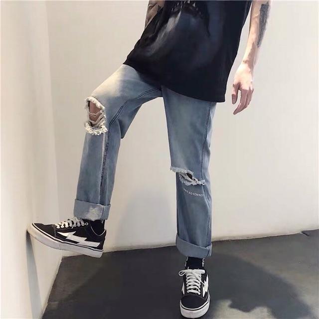 [Form đẹp] Quần baggy jean rách gối ống rộng