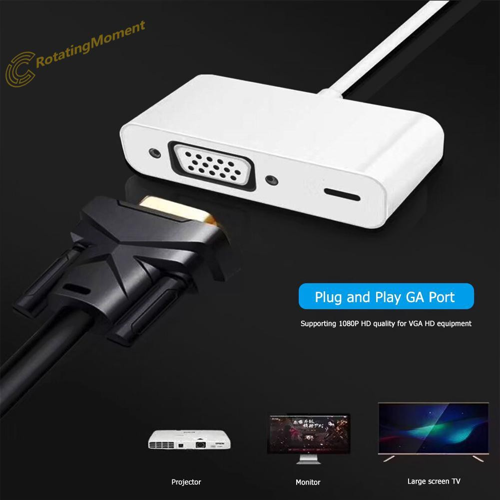 8 Pin to VGA Adapter Cable 1080P HD Video Converter for iPhone 5/6/7/8 iPad