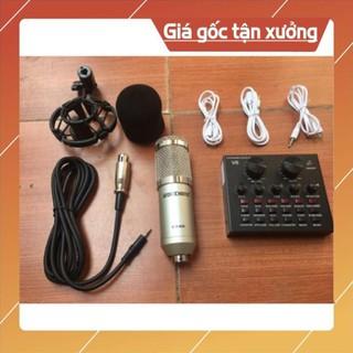 bộ livestream THU ÂM SOUND CARD V8 mic BM900 bluetooth có AUTOTUNE giá rẻ thumbnail