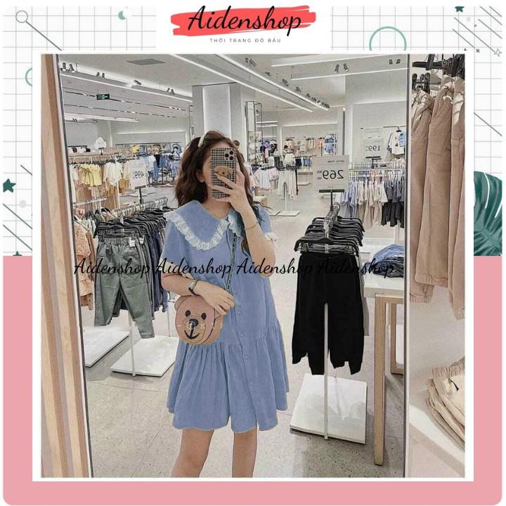 Mặc gì đẹp: Dễ chịu với Đầm bầu suông thời trang Aidenshop váy bầu thiết kế chất thô đũi mát mùa hè cộc tay 2021