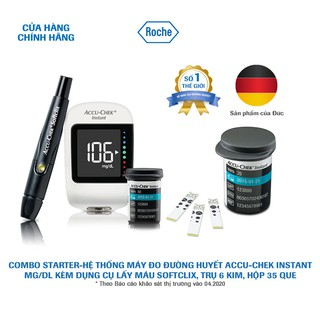 COMBO STARTER-Hệ thống máy đo đường huyết Accu-Chek Instant mg/dL. Kèm Dụng cụ lấy máu Softclix, 10 kim, hộp 25 que