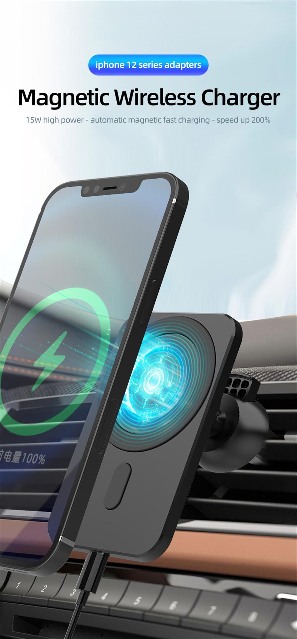 Đế Sạc Điện Thoại Không Dây Có Nam Châm Gắn Xe Hơi Cho Iphone 12 Pro Max