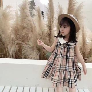 Váy kẻ sát nách dành cho bé