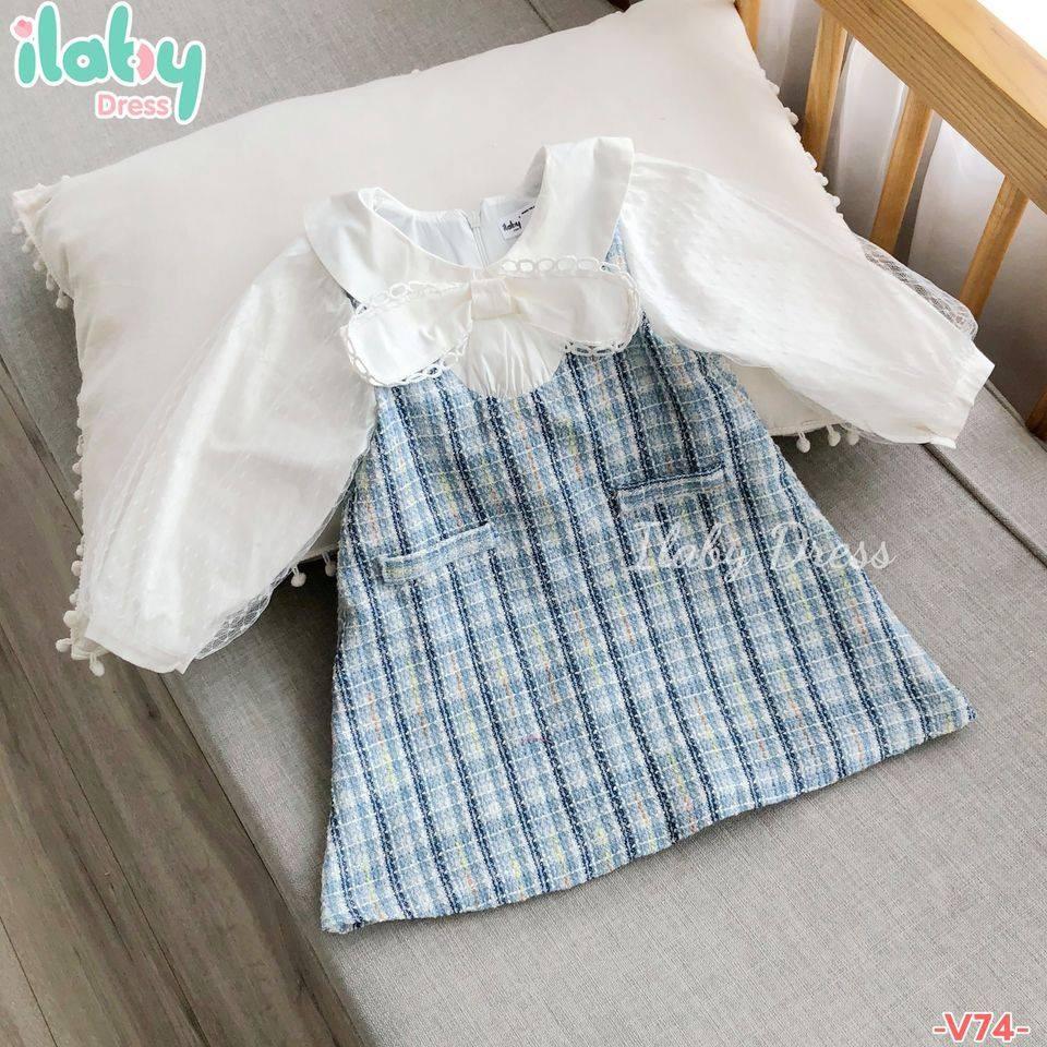 Set váy dạ phối sơ mi cho bé gái ILABY từ 1 - 10 tuổi [V74]