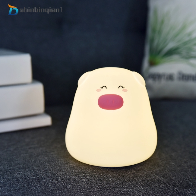 Silicone Soft Tap Lamp Cute Pig Children Animal Night Light