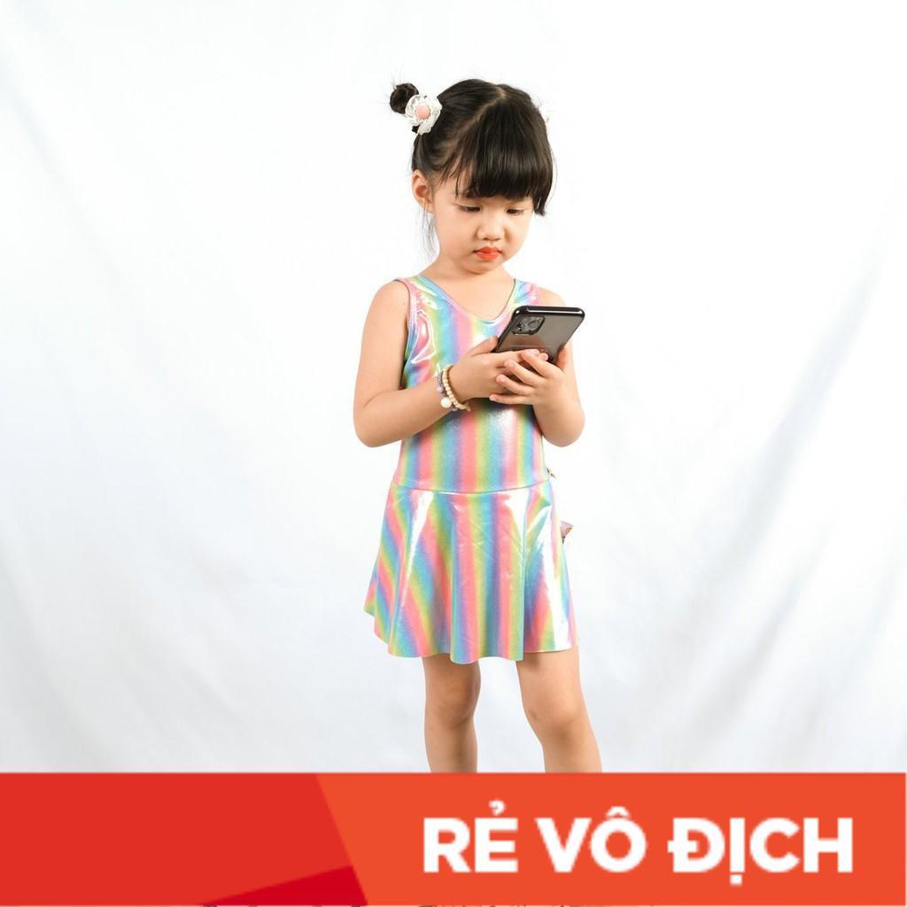 Váy bơi bé gái gắn nơ sau lưng size 2-10, cho bé 10-30kg. Chất nhũ kim sa dày dặn, siêu xinh