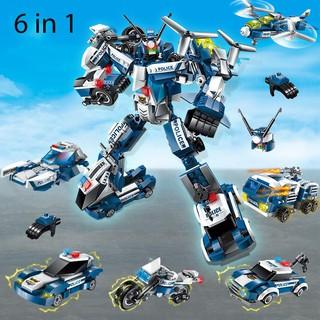 Bộ Lắp Ráp Kiểu Lego Robot Biến Hình Cảnh Sát 6 Trong 1 Model 1407 ENLIGHTEN 600 Mảnh Ghép