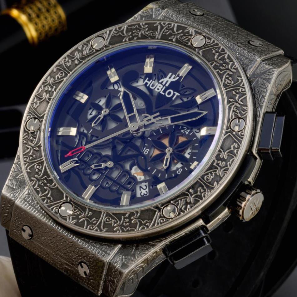 Đồng hồ nam Hublot mặt tròn -42mm lộ máy cao cấp dây da chống nước DH207  shop105