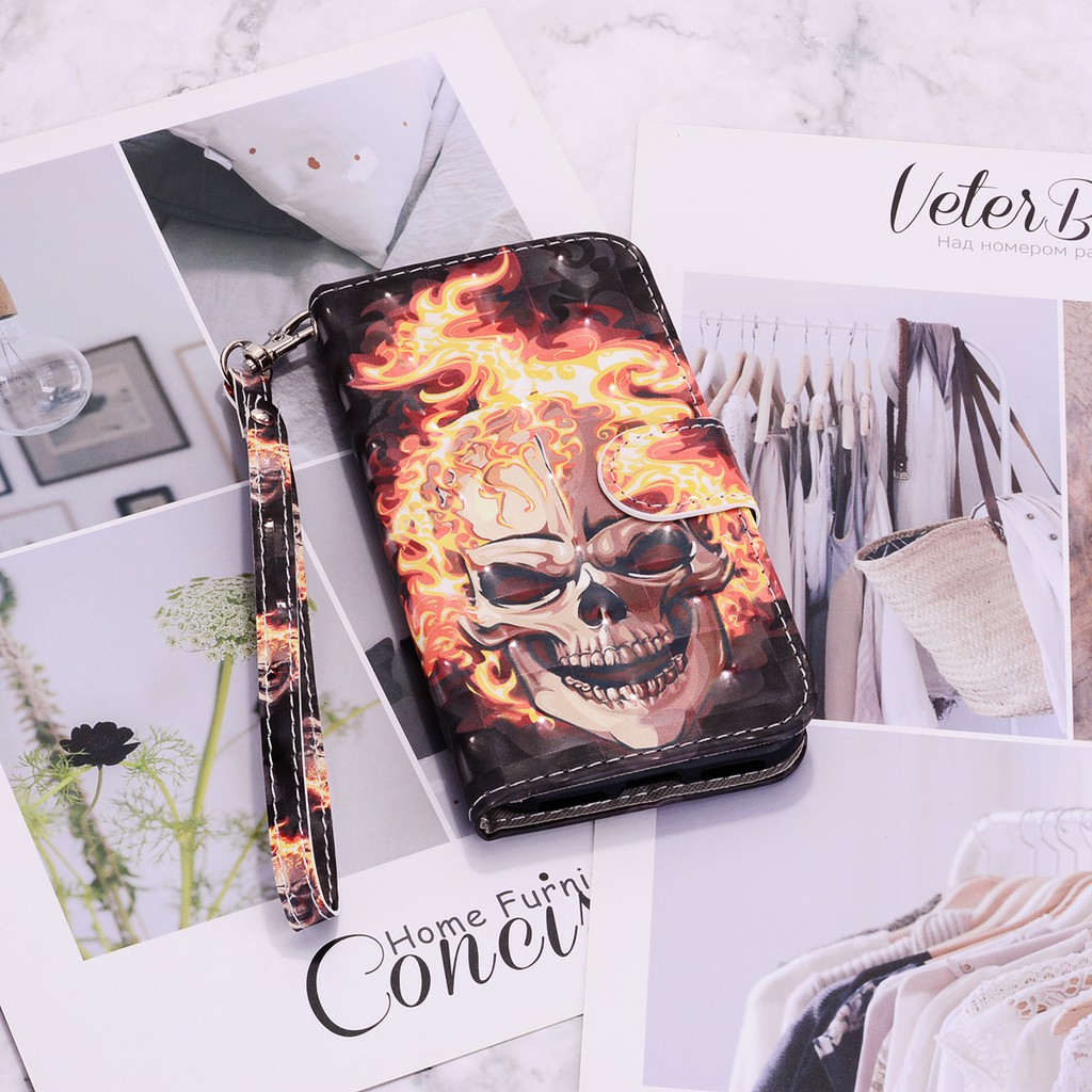 Samsung J6 2018 mobile phone shell 3D color painting Flip Style protective leather sheath creative