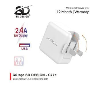 Củ sạc chính hãng SD DESIGN C77s chân gập 90 độ nhỏ gọn, tiện lợi, thích hợp sử dụng cho mọi thiết bị di động thumbnail