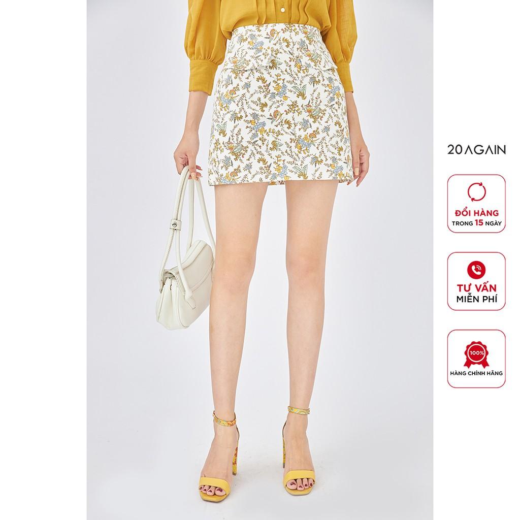 Chân váy chữ A, juyp ngắn họa tiết có nắp túi 20Again, hàng thiết kế cạp cao, tôn dáng JAA1809