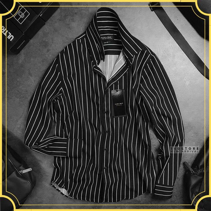 Sơ mi nam kẻ sọc đen chất liệu vải lụa cotton siêu mát, phong cách Hàn Quốc nam tính [freeship]