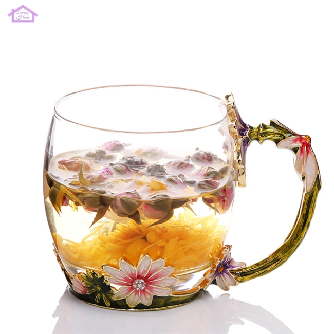 Cute Daisy Pattern Enamel Glass Tea Cup with Drip Spoon Handled Mug Gift Decoration