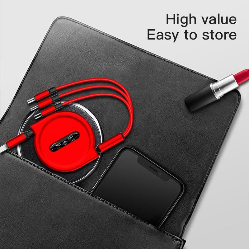 Cáp sạc di động 3 trong 1 USB 1,2M Cáp sạc nhanh 3A dành cho iPhone Samsung Micro USB Loại C