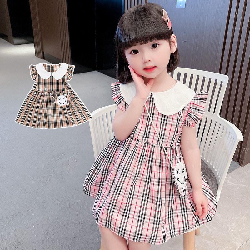Váy, đầm bé gái mùa hè CÁNH TIÊN CỔ BẺ chất cotton họa tiết kẻ sọc thoáng mát dễ thương QATE21