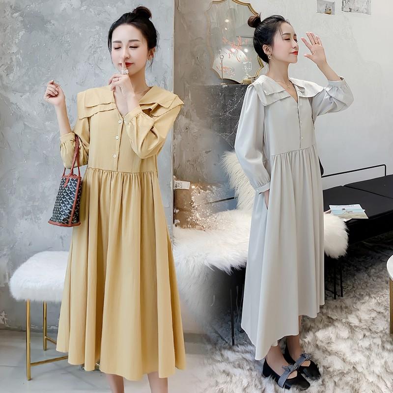2826002619 - A390 Đầm bầu, váy bầu mùa thu thời trang mới màu trơn cổ áo búp bê eo cao đầm rộng mang bầu
