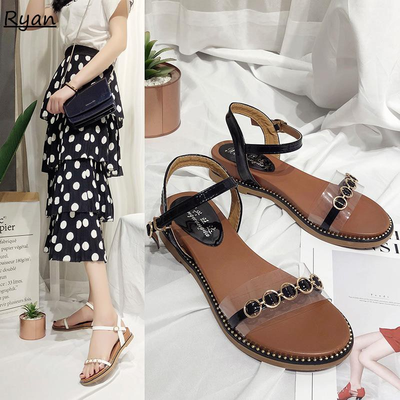 Sandals female wedges with wild flat bottom with skirt beach tide