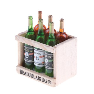 SIY❤ 6 Wine Juice Bottles With Wooden Miniature Kitchen Drink Toy Dollhou