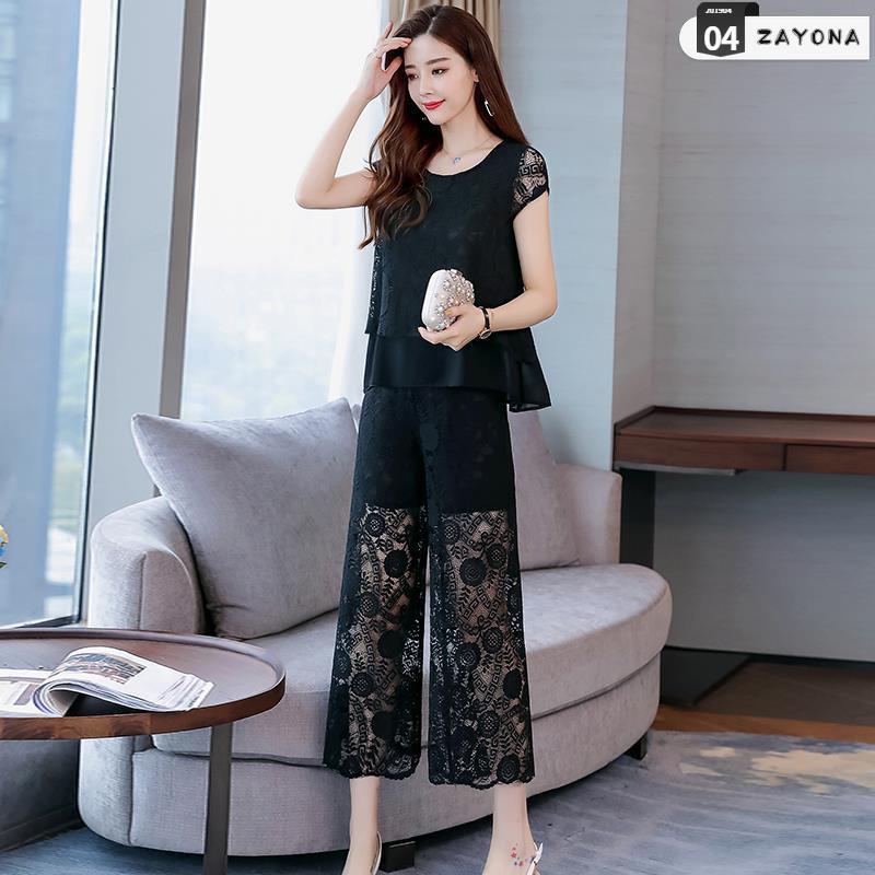 Mùa hè 2019 quần áo mới của phụ nữ quần lửng ống rộng phù hợp với phiên bản Hàn Quốc của nữ thần khí chất thời trang hai