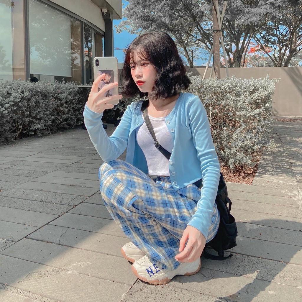 Quần Ống Rộng Kẻ Caro Lưng Cao Dáng Suông, Quần Dài Nữ Caro Ulzzang Phối Kẻ Sọc Nhiều Màu
