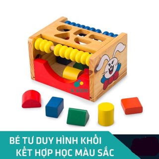Hộp Thả Hình Khối Con Thỏ Bằng Gỗ Thông cho bé học hình khối màu sắc phát triển tư duy.