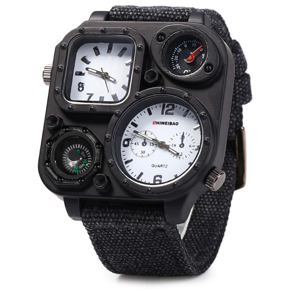 Đồng Hồ Nam Shiweibao - Dây đeo thời trang, chắc chắn. Đồng hồ cổ hiện thị la bàn, 2 múi giờ quốc tế