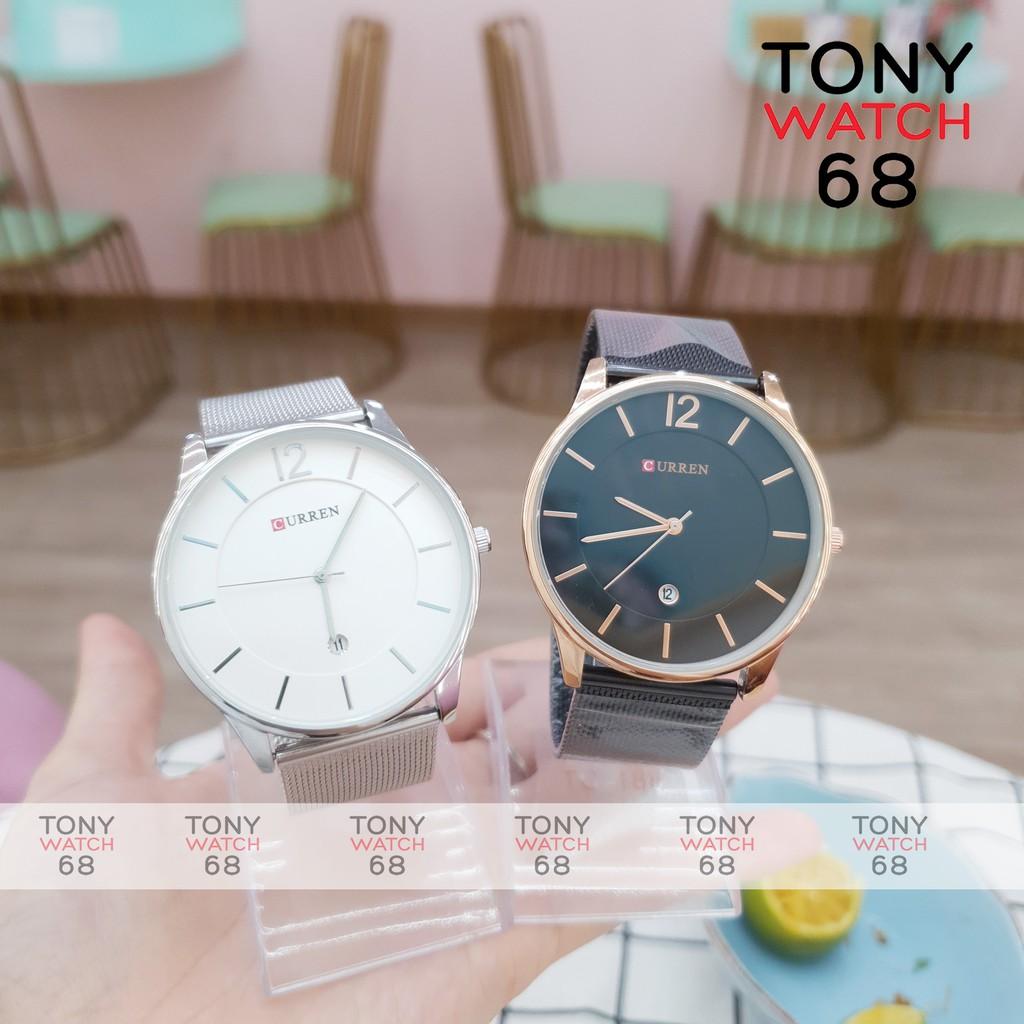 Đồng hồ nam Curren dây lụa mặt số vạch 40mm đơn giản có lịch doanh nhân chống nước chính hãng Tony Watch 68