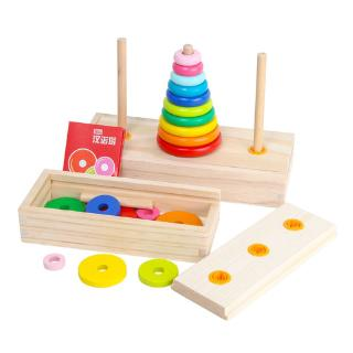 YOUN* Children Stacking Rings Baby Colorful Stacked Tower Kids Educational Game Toys