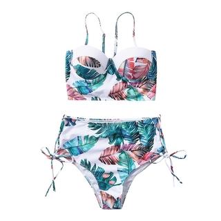 FUNNY Split Swimsuit Women Bathing Suit High Waisted Two Piece Beachwear Multicolor Durable Strap Sexy Swimming Beach Bikini